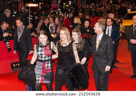 BERLIN, GERMANY - FEBRUARY 13: U.S. Ambassador to Germany John B Emerson, with his wife Marteau Emerson and daughters Jacqueline and Hayley attend the 'Cinderella' premiere during the 65th Berlinale