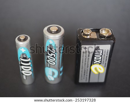 BERLIN, GERMANY - JANUARY 10, 2015: Ansmann AAA, AA and 9V rechargeable batteries