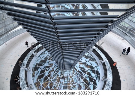 Berlin, Germany - January 6, 2013: Dome of Reichstag. Inside view.