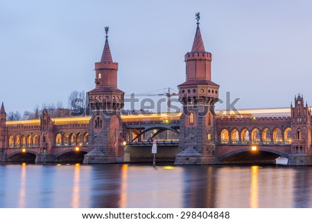 Berlin, Germany. January 15, 2014. Evening View of Berlin Oberbaum Bridge. HDR Look.