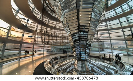 Berlin, Germany - January 26, 2014: Inside the Reichstag Dome, the German Bundestag in Berlin
