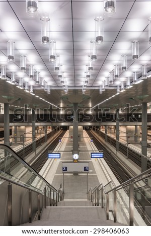 Berlin, Germany. January 16, 2014: Inside View of Berlin Central Train Station.
