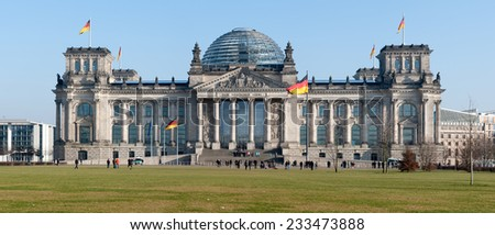 BERLIN, GERMANY - JANUARY 29, 2011: Reichstag Berlin Panorama - stock photo