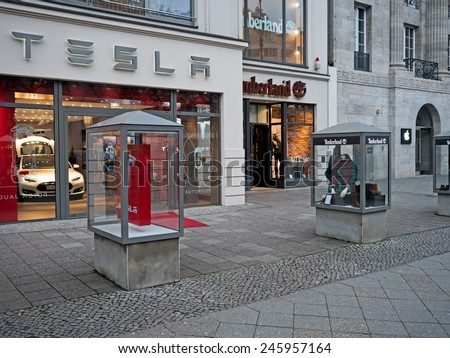 Berlin, Germany - January 21, 2015: Shops of Apple, Timberland and Tesla in Kudamm - stock photo