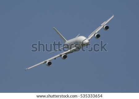 BERLIN, GERMANY - July 22, 2008: Airbus A380 at the International Aerospace Exhibition ILA.