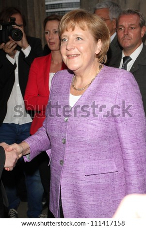 BERLIN, GERMANY - JULY 02: Chancellor Angela Merkel attends ZDF Summer Reception on July 2, 2012 in Berlin, Germany. - stock photo