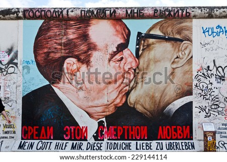 BERLIN, GERMANY - JULY 2, 2014: East Side Gallery in Berlin. It's a part of original Berlin Wall. Nowadays world celebrates the 25th anniversary of Fall of the Berlin Wall, which collapsed in 1989 - stock photo