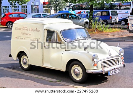 BERLIN, GERMANY -  JULY 20, 2014: Retro vehicle Morris Quarter Ton Van at the city street. - stock photo