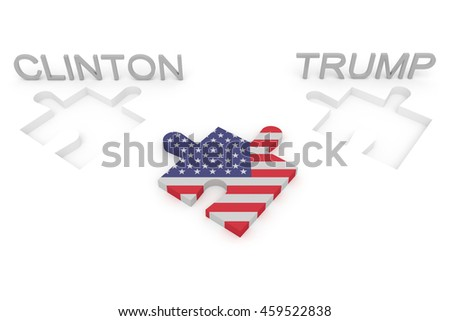 BERLIN, GERMANY - JULY 27, 2016: US election: Stars and Stripes puzzle piece, Clinton, Trump, 3d illustration