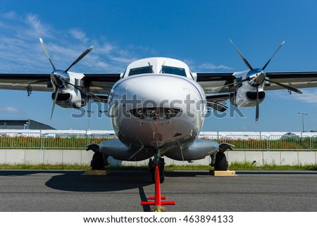 BERLIN, GERMANY - JUNE 02, 2016: A twin-engine short-range transport aircraft Let L-410NG Turbolet. Exhibition ILA Berlin Air Show 2016