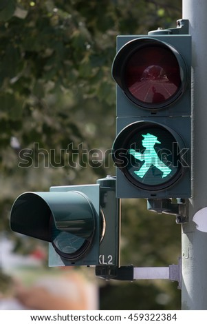 BERLIN, GERMANY - JUNE 20: Ampelmann is the famous symbol shown on pedestrian signals in the former German Democratic Republic, now a part of Germany, on June 20, 2016 in Berlin, Germany