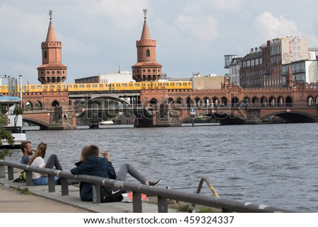 BERLIN, GERMANY - JUNE 19: APanoramic view of Berliner U-Bahn with Bridge Oberbaumbruecke on June 19, 2016 in Berlin, Germany