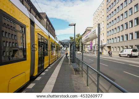BERLIN, GERMANY- 22 June, 2016: Berlin tram bus stop in the Mitte district.