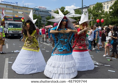 BERLIN, GERMANY - JUNE 22, 2013: Christopher Street Day. The annual European LGBT celebration and demonstration for the rights of LGBT people, and against discrimination and exclusion.