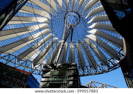 Berlin, Germany - June 19, 2010:  Fibre glass elliptical roof with white sails designed by Helmut Jahn at the SONY Center in Berliner Platz