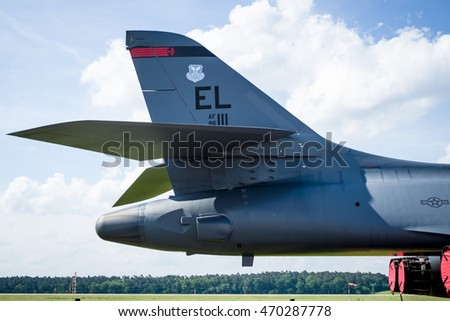 BERLIN, GERMANY - JUNE 03, 2016: Fragment of a four-engine supersonic variable-sweep wing, jet-powered heavy strategic bomber Rockwell B-1B Lancer. US Air Force. Exhibition ILA Berlin Air Show 2016