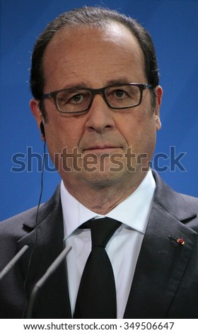 "BERLIN, GERMANY - JUNE 1, 2015: Francois Hollande  at a press conference before a meeting of the ""European Round Table of Industrialists ERT"", Chanclery."