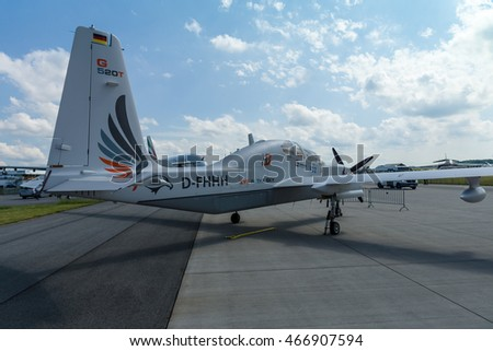 BERLIN, GERMANY - JUNE 02, 2016: High altitude and reconnaissance aircraft Grob G520 T. Rear view. Exhibition ILA Berlin Air Show 2016