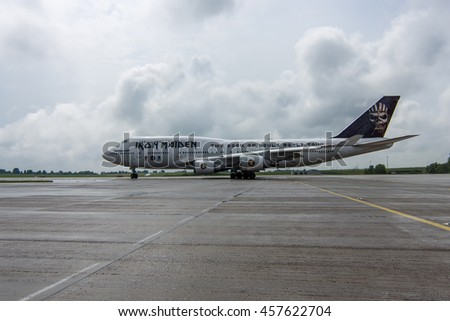 "BERLIN, GERMANY - JUNE 01, 2016: International Airport Schoenefeld. Iron Maiden's Boeing 747 ""Ed Force One"". The world tour ""The Book of Souls"""