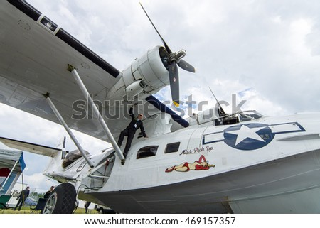 BERLIN, GERMANY - JUNE 02, 2016: Maritime patrol and search-and-rescue seaplane Consolidated PBY Catalina (PBY-5A). Exhibition ILA Berlin Air Show 2016