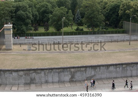BERLIN, GERMANY - JUNE 19: memorial to Berlin Wall in Bernauer Strasse, on June 09, 2016 in Berlin, Germany