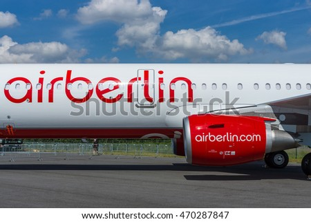 BERLIN, GERMANY - JUNE 03, 2016: Narrow-body jet airliner Airbus A321-211. Airberlin. Exhibition ILA Berlin Air Show 2016