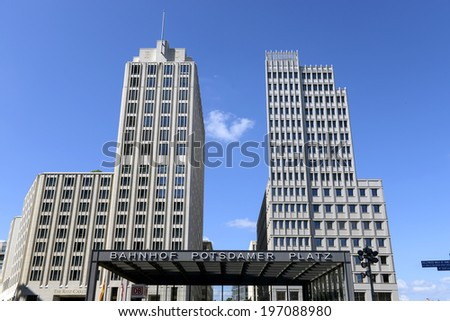 BERLIN, GERMANY-JUNE 01, 2014: Potsdamer platz buildings, in Berlin.