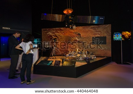 BERLIN, GERMANY - JUNE 01, 2016: Prototype ExoMars (rover). The stand European Space Agency. Exhibition ILA Berlin Air Show 2016