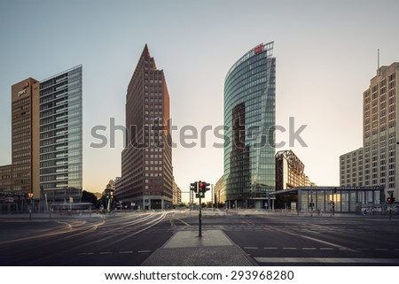 BERLIN, GERMANY - JUNE 02: Skyscrapers of Potsdamer Platz district and railway station on Jun 02 2015 in Berlin - stock photo
