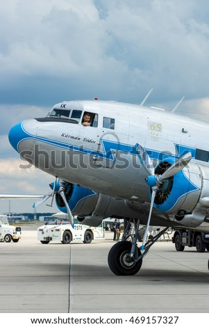"BERLIN, GERMANY - JUNE 02, 2016: Soviet aircraft Lisunov Li-2, Hungarian airline ""Malev"". Exhibition ILA Berlin Air Show 2016"
