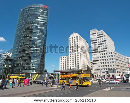 Berlin, Germany - June 4, 2015: Street Scene Potsdamer Platz with sky scrapers - stock photo