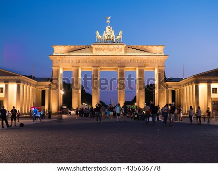 Berlin, Germany - June 5, 2016: The Brandenburg Gate, the most famous monument in Berlin and is known worldwide as a symbol of the city itself and Germany.