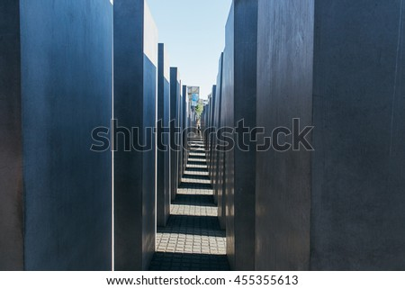 BERLIN, GERMANY - JUNE 24, 2016: The Holocaost Monument in Berlin, Germany (consist of 2711 Concrete Blocks)