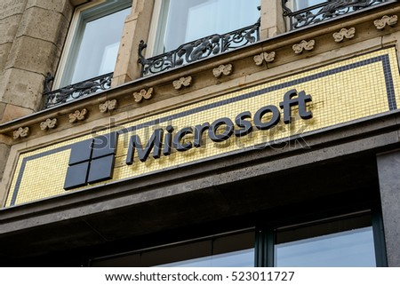 "BERLIN, GERMANY - JUNE 30: the logo of the brand ""Microsoft"" on jun 30 2016 in Berlin, Germany, Europe"