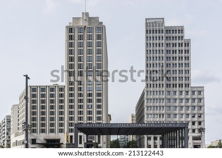 BERLIN, GERMANY - JUNE 16, 2014: View of Potsdamer Platz (Potsdam Square). The Potsdamer Platz is the new modern city center in the Tiergarten district of Berlin.