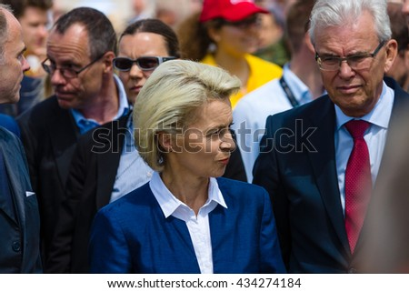 BERLIN, GERMANY - JUNI 02, 2016: Arrival of the Federal Minister of Defence of Germany, Ursula von der Leyen at the exhibition ILA Berlin Air Show 2016