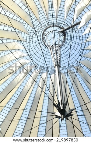 BERLIN, GERMANY - MARCH 30, 2014: Abstract architectural detail of modern building in Postdamer Platz in Berlin, Germany - stock photo