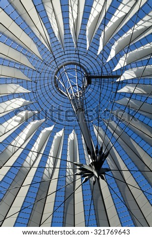 BERLIN, GERMANY - MARCH 30, 2014: Abstract architectural detail of modern building in Postdamer Platz in Berlin, Germany