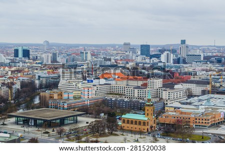 BERLIN, GERMANY, MARCH 12, 2015: aerial view of berlin towards skyscrapers of kurfirstendamm business district and saint matthaus church.