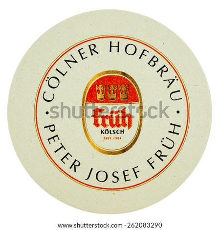 BERLIN, GERMANY - MARCH 15, 2015: Beermat of German beer Frueh isolated over white background