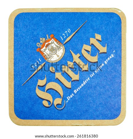 BERLIN, GERMANY - MARCH 15, 2015: Beermat of German beer Hirter isolated over white background