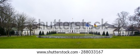 BERLIN, GERMANY, MARCH 12, 2015: bellevue palace in berlin is a seat of german president.