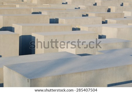BERLIN, GERMANY, MARCH 12, 2015: concrete blocks of the jewish holocaust memorial in berlin - memorial to the murdered jews of europe. - stock photo