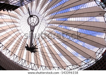 BERLIN, GERMANY - MARCH 13: Detail of Sony Center ceiling in a low angle view on March 13, 2008 in Berlin, Germany. Sony Center is a Sony-sponsored building complex located at the Potsdamer Platz.