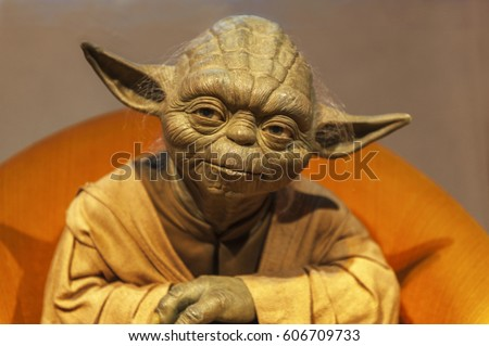 Berlin, Germany - March 2017:  Master Yoda wax figure in Madame Tussaud's museum