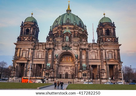 BERLIN, GERMANY - MARCH 8 2016: The Berlin Cathedral. Berlin, Germany