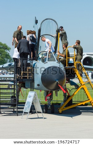 BERLIN, GERMANY - MAY 22, 2014: A twin-engine, variable-sweep wing combat aircraft Panavia Tornado IDS. German Air Force. Exhibition ILA Berlin Air Show 2014