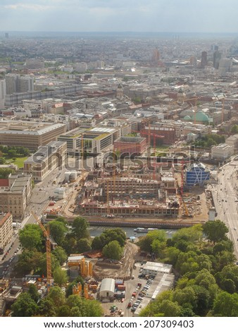 BERLIN, GERMANY - MAY 08, 2014: Aerial bird eye view of the city