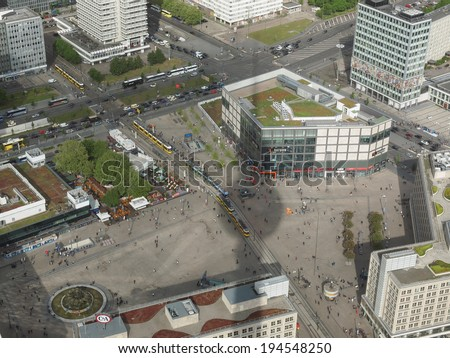 BERLIN, GERMANY - MAY 08, 2014: Aerial bird eye view of the city with the shadow of the Television Tower over Alexanderplatz