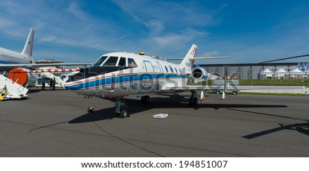 BERLIN, GERMANY - MAY 21, 2014: Airplane German Aerospace Center (DLR) - Dassault Falcon 20E-5 (Volcano Ash Hunter-Mission). Exhibition ILA Berlin Air Show 2014